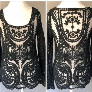 Cute black sheer lace top